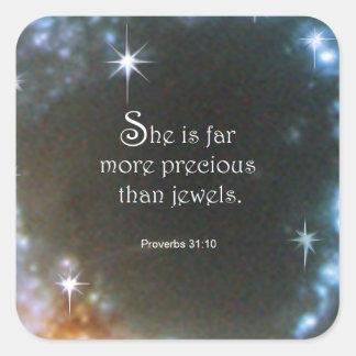 Proverbs 31:10 square sticker