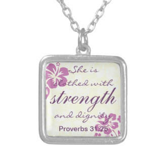 Proverbs 31 25 Clothed with Strength - Purple Silver Plated Necklace