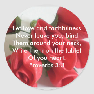 Proverbs 3:3 classic round sticker