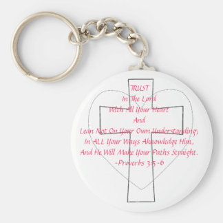 Proverbs 3:5-6 basic round button key ring