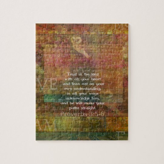 Proverbs 3:5-6 Bible Quote about Trust Jigsaw Puzzle