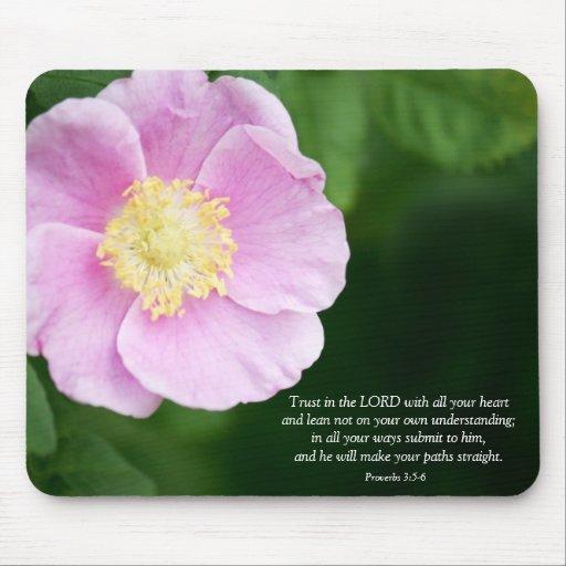 Proverbs 3:5-6 Christian Bible Verse Pink Flower Mousepad