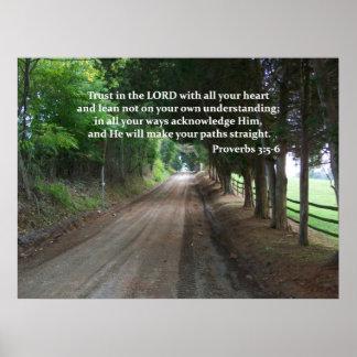 Proverbs 3:5-6 Christian Bible Verse Poster