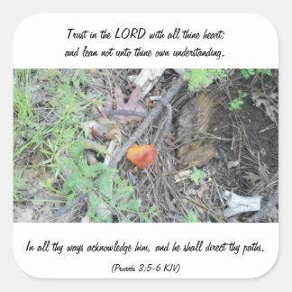 Proverbs 3:5-6 square stickers