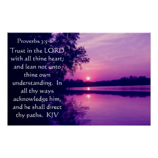 Proverbs 3:5-6  sunset Poster