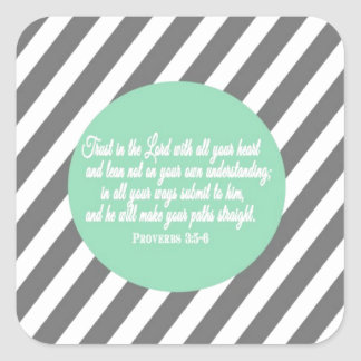 Proverbs 3:5 Modern Style Religious Bible Verse Square Sticker