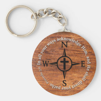 Proverbs 3:6 Direct Your Paths Bible Verse Compass Basic Round Button Key Ring