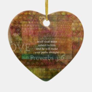 Proverbs 3:6: Inspirational Bible Verse Ceramic Heart Decoration