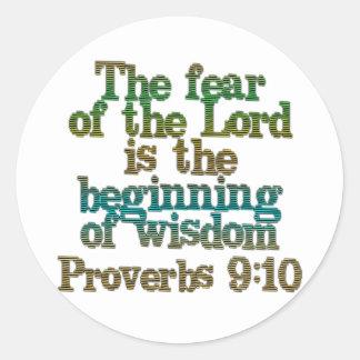 Proverbs 9:10 classic round sticker