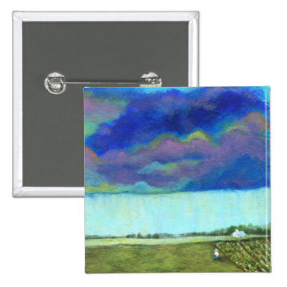 Providence Abstract Folk Art Landscape Painting Pinback Button