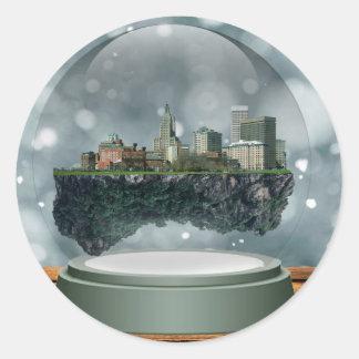Providence Island Snow Globe Classic Round Sticker