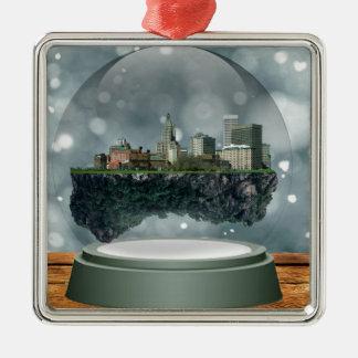 Providence Island Snow Globe Metal Ornament
