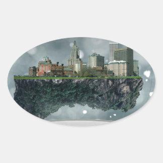 Providence Island Snow Globe Oval Sticker