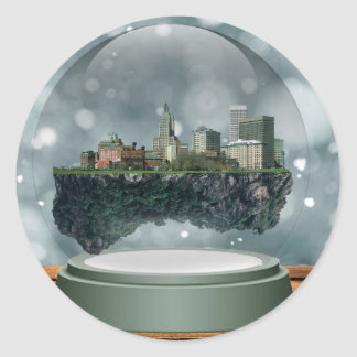Providence Island Snow Globe Round Sticker