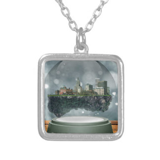 Providence Island Snow Globe Silver Plated Necklace