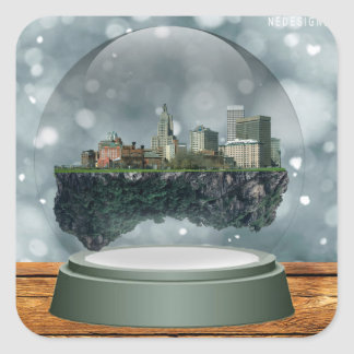 Providence Island Snow Globe Square Sticker