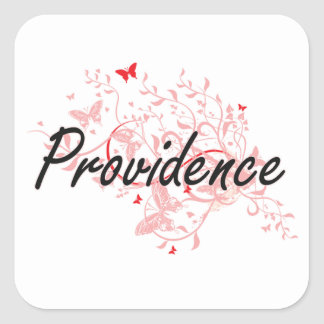 Providence Rhode Island City Artistic design with Square Sticker