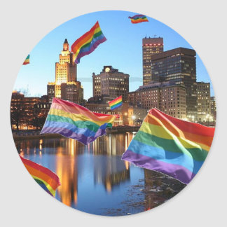 Providence, RI Flying Pride Round Sticker