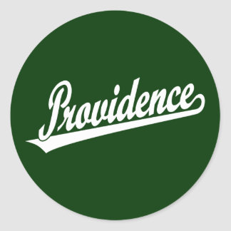 Providence script logo in white round sticker