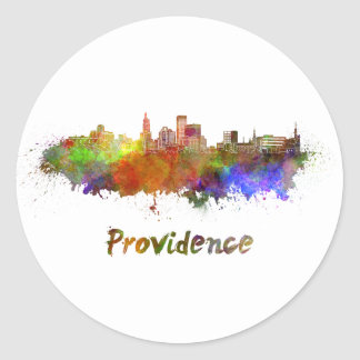 Providence skyline in watercolor round sticker