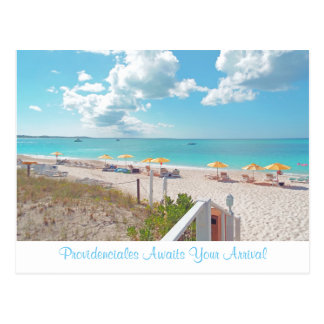"""""""PROVIDENCIALES AWAITS YOUR ARRIVAL"""" POSTCARD"""