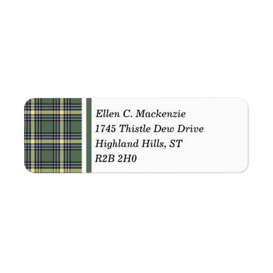 Province of Alberta Canada Tartan Return Address Label