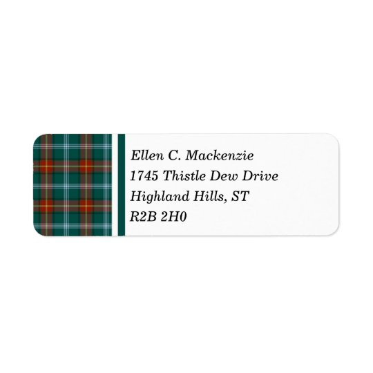 Province of Manitoba Canada Tartan Return Address Label