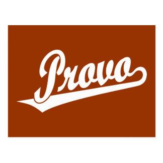 Provo script logo in white postcard