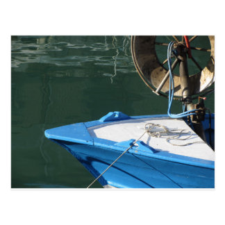 Prow of a wooden fishing boat with trawl winch postcard