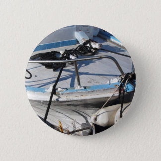 Prow of fishing boat moored in the harbor 6 cm round badge
