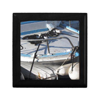 Prow of fishing boat moored in the harbor gift box