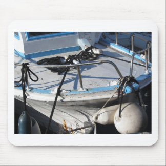 Prow of fishing boat moored in the harbor mouse pad