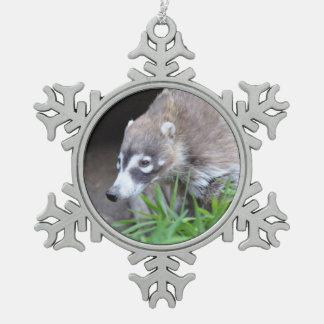Prowling Coati Snowflake Pewter Christmas Ornament