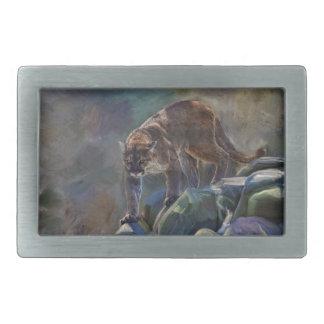 Prowling Cougar Mountain Lion Art Design Rectangular Belt Buckle