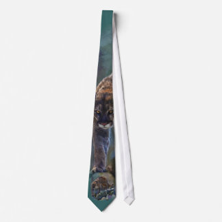 Prowling Cougar Mountain Lion Art Design Tie