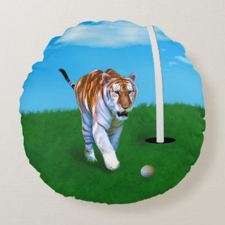 Prowling Tiger and Golf Ball Customizable Round Cushion