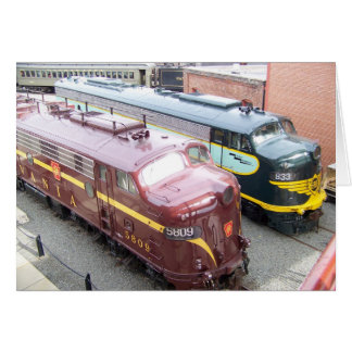 PRR E8A 5809 and ERIE E8A 833 at Steamtown Card