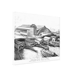 PRR Jersey City NJ Station 1893 Stretched Canvas Print