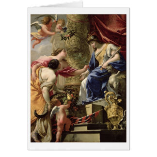 Prudence Leading Peace and Abundance, c.1645 (oil Card