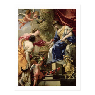 Prudence Leading Peace and Abundance, c.1645 (oil Postcard