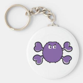 prurple fuzzy monster Skull purple Crossbones Key Chain