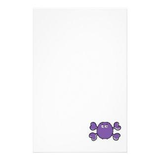prurple fuzzy monster Skull purple Crossbones Stationery