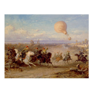 Prussian Hussars firing at a French Observation Ba Postcard