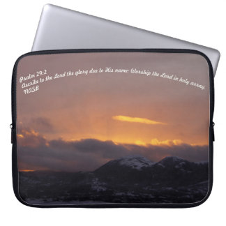 PS 29:2 with a sunset behind mountians and clouds Laptop Computer Sleeve