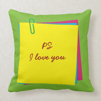 """PS I love you"" Colorful Post it Notes Pillow"