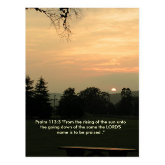 Psalm 113:3 sun setting card postcard