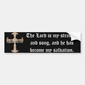 Psalm 118:14 - Etched Copper Cross Bumper Sticker