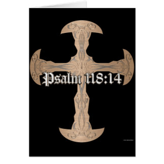 Psalm 118:14 - Etched Copper Cross Card