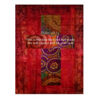Psalm 118:24 Uplifting Bible Verse Christian art Postcard