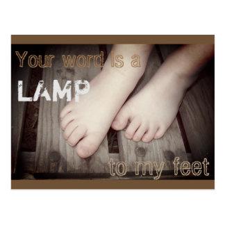 Psalm 119:105 Child's feet on wood Postcard